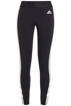 ADIDAS Mélange striped stretch cotton-jersey leggings