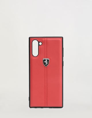 Scuderia Ferrari Online Store - Rigid red leather case for Samsung Galaxy Note 10 - Smartphone Accessories