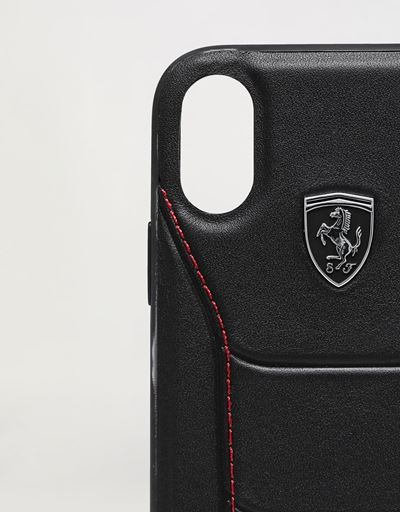 Scuderia Ferrari Online Store - Rigid black leather case with contrast stitching for iPhone XR - Smartphone Accessories