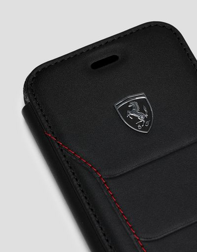 Scuderia Ferrari Online Store - Black leather flip case with contrasting stitching for iPhone 8 - Smartphone Accessories