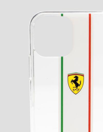 Scuderia Ferrari Online Store - Coque transparente avec tricolore italien pour iPhone 11 Pro - Accessoires pour smartphone