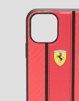 Scuderia Ferrari Online Store - Red flip case with carbon fibre effect insert for iPhone 11 Pro - Smartphone Accessories