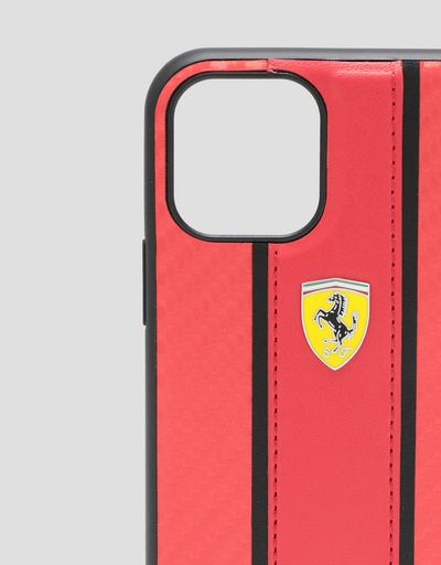 Scuderia Ferrari Online Store - Rigid red case with carbon-effect insert for iPhone 11 Pro - Smartphone Accessories