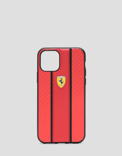 Red flip case with carbon fibre effect insert for iPhone 11 Pro