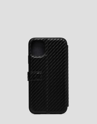 Scuderia Ferrari Online Store - Black wallet case with carbon-effect insert for iPhone 11 - Smartphone Accessories