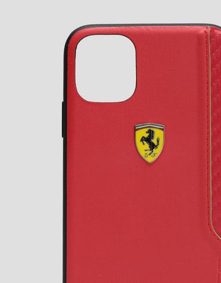Scuderia Ferrari Online Store - Rigid red case with carbon fiber print for iPhone 11 - Smartphone Accessories
