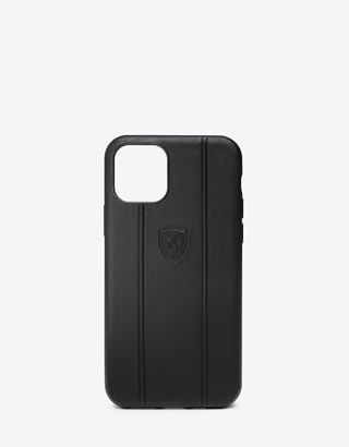 Scuderia Ferrari Online Store - Rigid black leather case with debossed Ferrari Shield for iPhone 11 - Smartphone Accessories