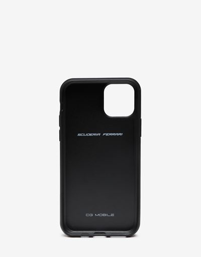 Rigid black leather case with debossed Ferrari Shield for iPhone 11