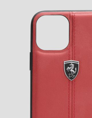 Scuderia Ferrari Online Store - Red leather hard case for iPhone 11 Pro - Smartphone Accessories