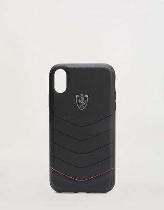 Scuderia Ferrari Online Store - Rigid black leather case for iPhone XR - Smartphone Accessories