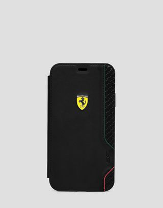 Scuderia Ferrari Online Store - Black wallet case with carbon fiber print for iPhone XR - Smartphone Accessories