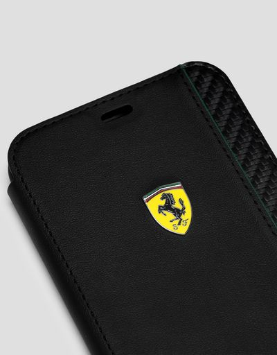 Scuderia Ferrari Online Store - Black flip case with carbon fibre effect print for iPhone XR - Smartphone Accessories