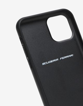 Scuderia Ferrari Online Store - Rigid black case with carbon fiber print for iPhone 11 Pro - Smartphone Accessories