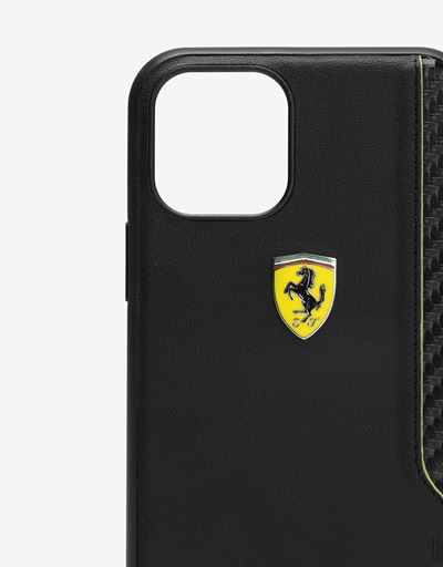 Scuderia Ferrari Online Store - Black hard case with carbon fibre print for iPhone 11 Pro - Smartphone Accessories