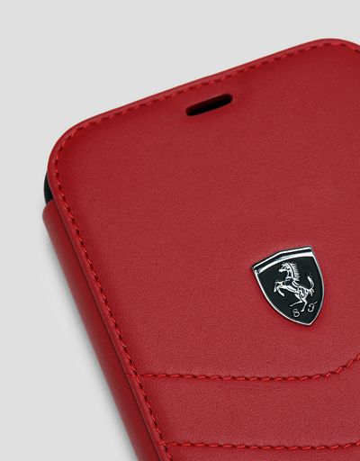 Scuderia Ferrari Online Store - Red leather flip case for iPhone 11 - Smartphone Accessories