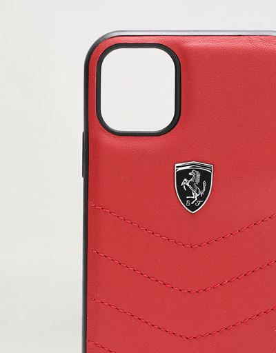 Scuderia Ferrari Online Store - Rigid red leather case for iPhone 11 - Smartphone Accessories