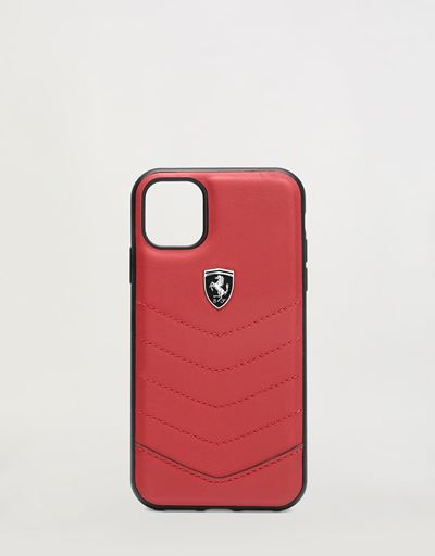 Red leather hard case for iPhone 11