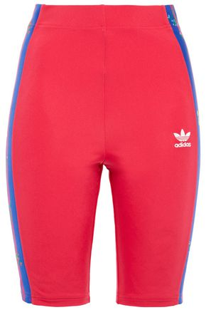 ADIDAS ORIGINALS Embroidered printed stretch-jersey shorts