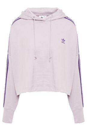 ADIDAS ORIGINALS Cropped logo-embroidered striped cotton-fleece hoodie