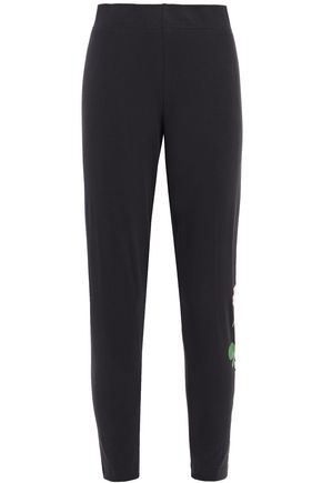 ADIDAS Cropped printed stretch cotton-jersey leggings