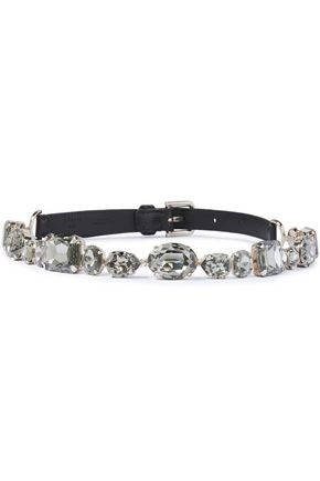 DOLCE & GABBANA Crystal and lizard-effect leather belt