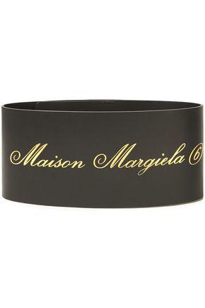 MM6 MAISON MARGIELA حزام خصر من الجلد المطبع برسومات لون ميتاليك