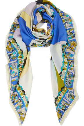 EMILIO PUCCI Frayed printed wool and silk-blend gauze scarf