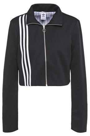ADIDAS ORIGINALS Cropped stripe-trimmed jersey track jacket