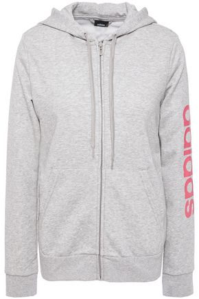 ADIDAS Printed mélange French cotton-blend terry hoodie