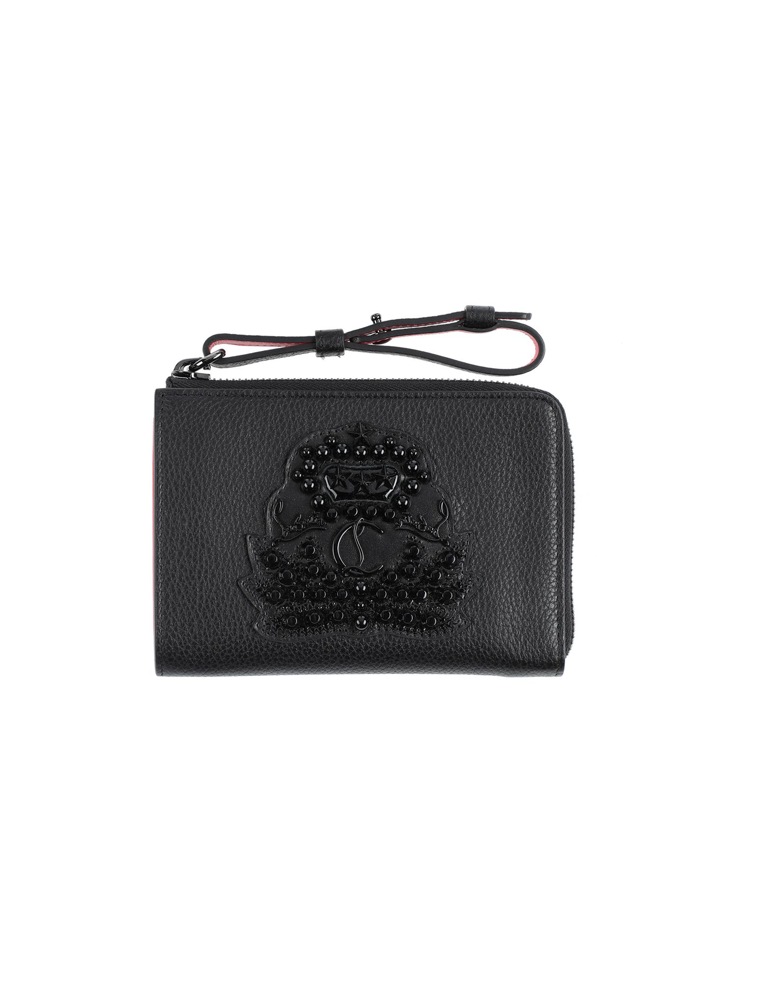 CHRISTIAN LOUBOUTIN Wallets. textured leather, logo, studs, zip, basic solid color, internal compartments, contains non-textile parts of animal origin. Soft Leather