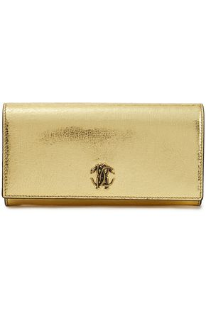 ROBERTO CAVALLI Embellished metallic cracked-leather continental wallet