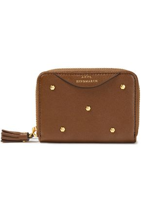 ANYA HINDMARCH Hexagon studded textured-leather wallet