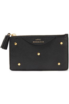 ANYA HINDMARCH Hexagon studded textured-leather cardholder