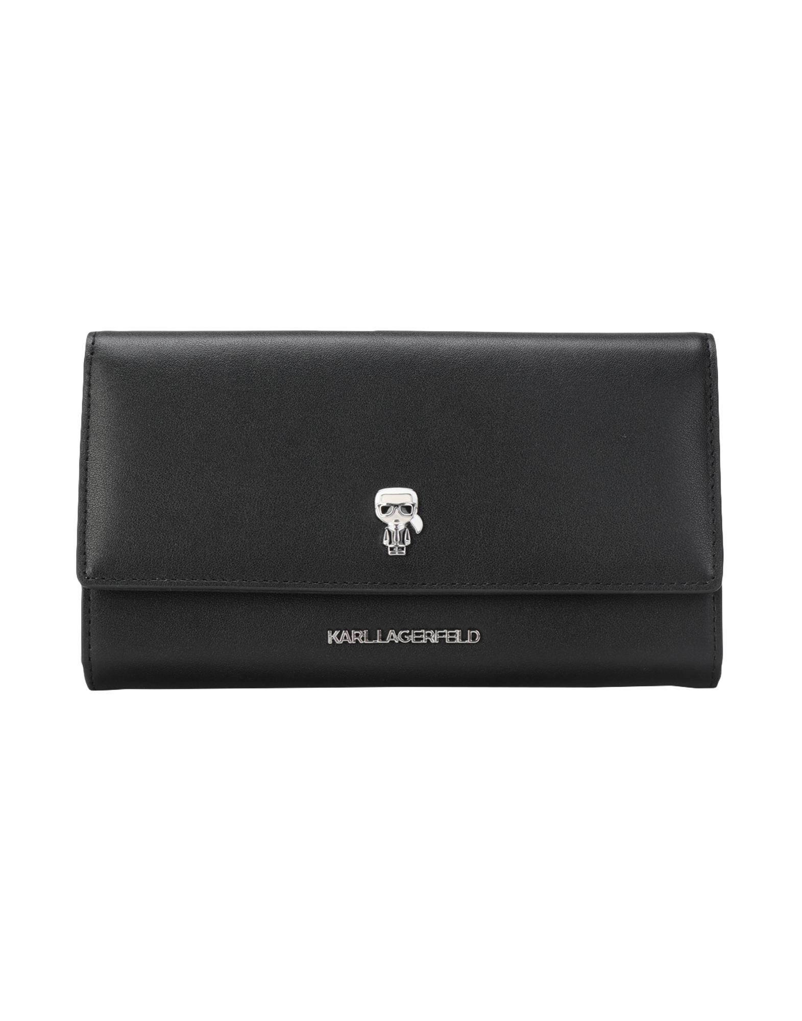 《セール開催中》KARL LAGERFELD レディース 財布 ブラック 牛革 100% K/Ikonik Pin Cont Flap Wallet