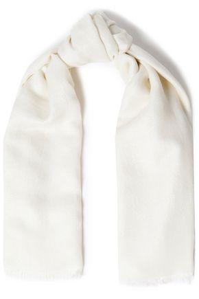 MAJE Frayed jacquard-knit scarf