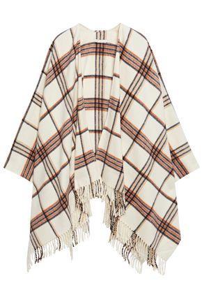 MAJE Fringed checked brushed-felt cotton-blend wrap