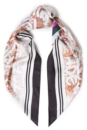 MAJE Printed silk-satin twill scarf