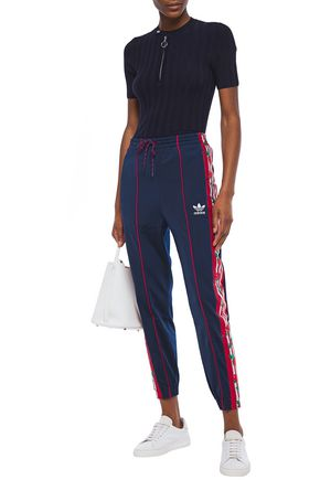 Adidas Originals Woman Jacquard-trimmed Stretch-jersey Track Pants ...