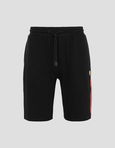 Scuderia Ferrari Online Store - Men's Racing Bermuda shorts in French Terry with rubberized print - Joggers
