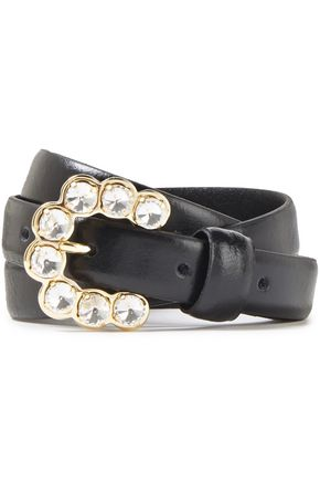 SANDRO Celya crystal-embellished leather belt