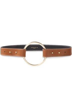 SANDRO Ring-embellished two-tone leather belt