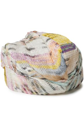 MISSONI Crochet-knit linen-blend turban