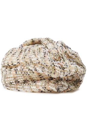 MISSONI Layered printed open-knit linen and straw turban