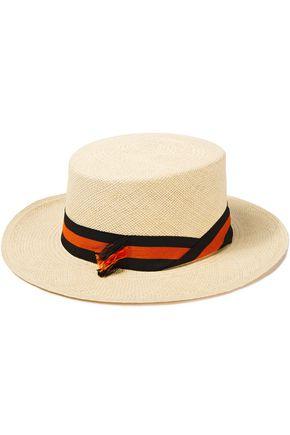 SENSI STUDIO Canvas-trimmed toquilla straw Panama hat