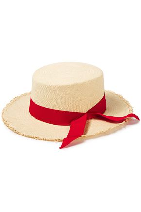 SENSI STUDIO Canvas-trimmed woven Toquilla straw Panama hat