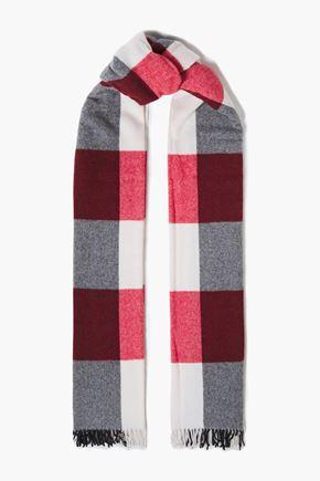 RAG & BONE Fringed checked wool-blend scarf