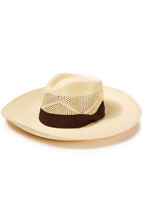 SENSI STUDIO Bow-embellished canvas-trimmed toquilla straw Panama hat