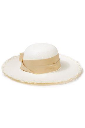 SENSI STUDIO قبعة باناما من قش التوكيلا مزخرفة بالكنفا ومزينة بعقدة فراشية