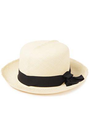 SENSI STUDIO Frayed bow-embellished straw sun hat
