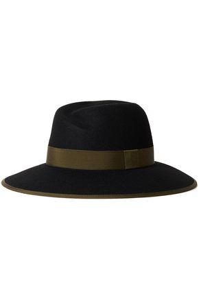 RAG & BONE قبعة فيدورا من الجوخ الصوفي مزينة بقماش غروغران